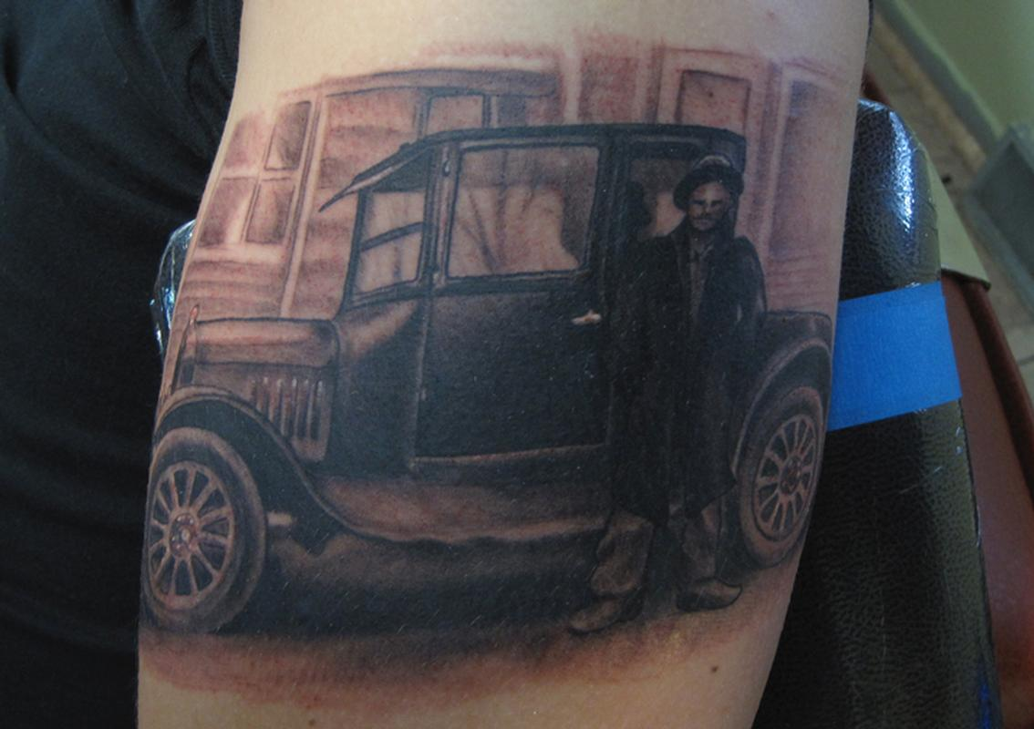 1925 model t car black and grey arm tattoo by jon von for Tattoo shops in st cloud mn