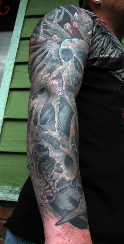 Color skull bio organic sleeve preview by jon von glahn for Tattoo shops in st cloud mn