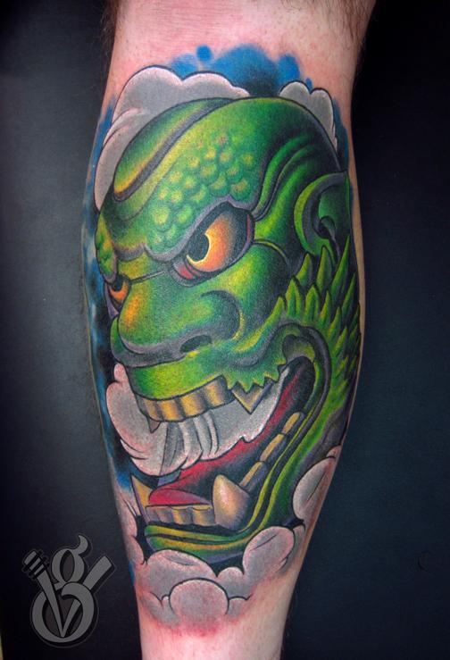 Japanese oni hanya noh mask color leg tattoo by jon von for Japanese mask tattoo