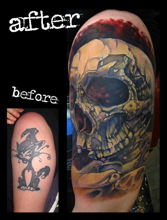 Skull cover up arm color tattoo by jon von glahn tattoonow for Tattoo sleeve cover up forearm