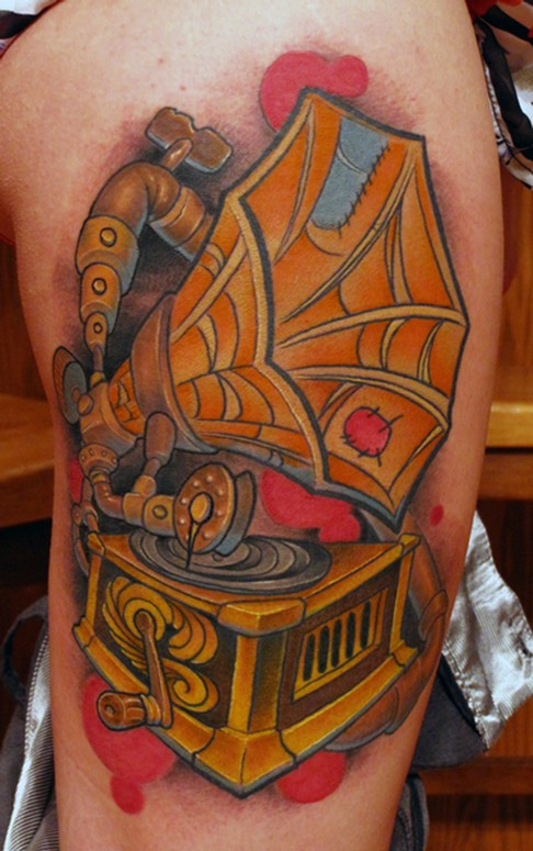 Steampunk vintage victrola phonograph color leg tattoo by for Tattoo shops in st cloud mn