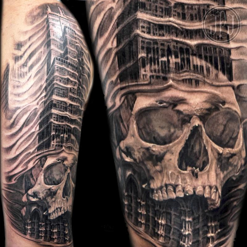 skull and chicago sears tower by jose perez jr tattoonow