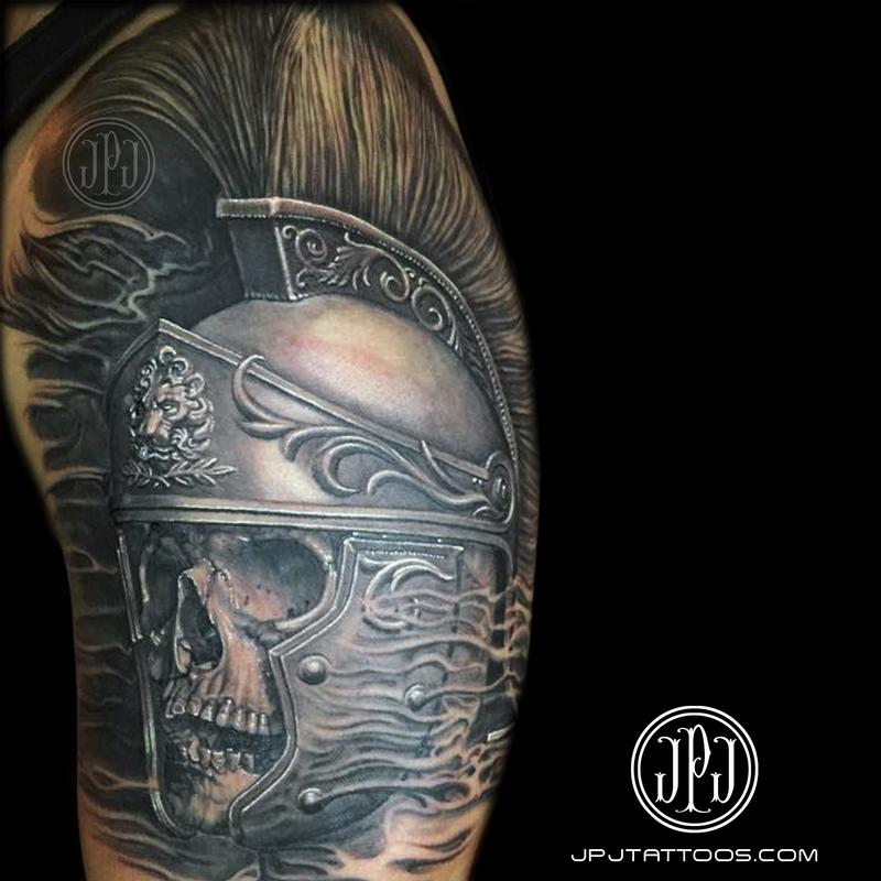 roman soldier skull by jose perez jr tattoonow. Black Bedroom Furniture Sets. Home Design Ideas