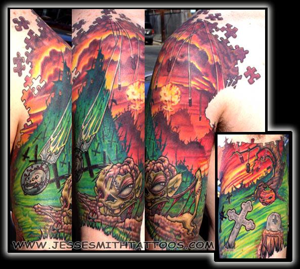 Zombie Tattoo Half Sleeve