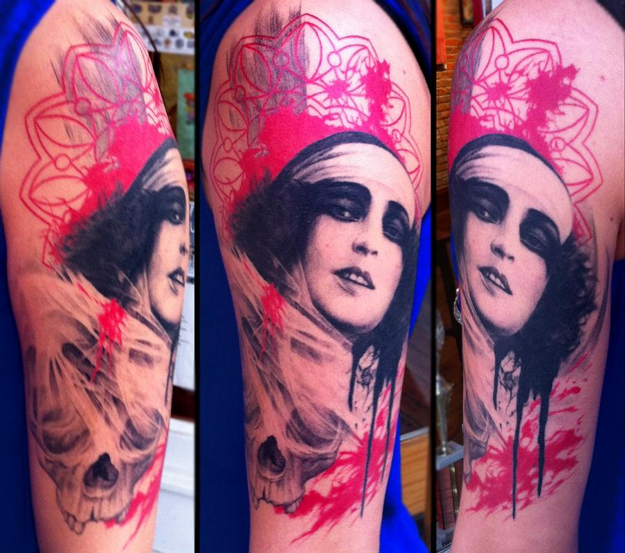 Unify tattoo company tattoos pepper woman with skull for Custom tattoo armrest for sale