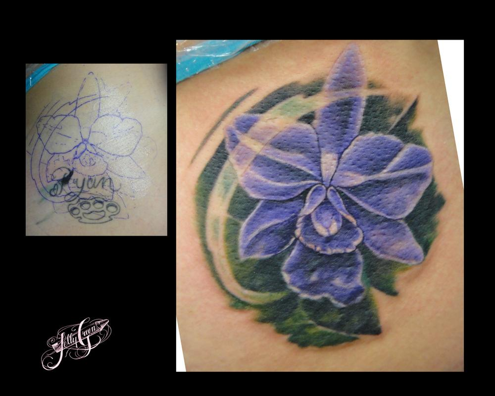 Orchid cover up by kelly green tattoos for Tattoo shops in hartford ct
