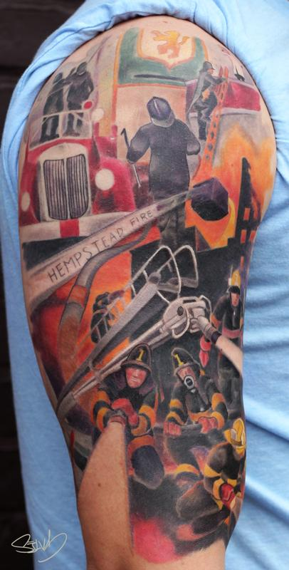 Fire Department Painting Tattoo By Marvin Silva Tattoos