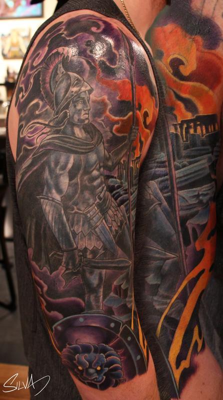 Custom Ares God Of War Tattoo By Marvin Silva : Tattoos