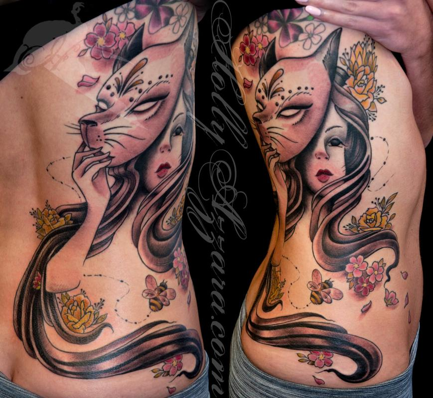 Woman with fox mask on ribs by holly azzara tattoonow for Woman with tattoos