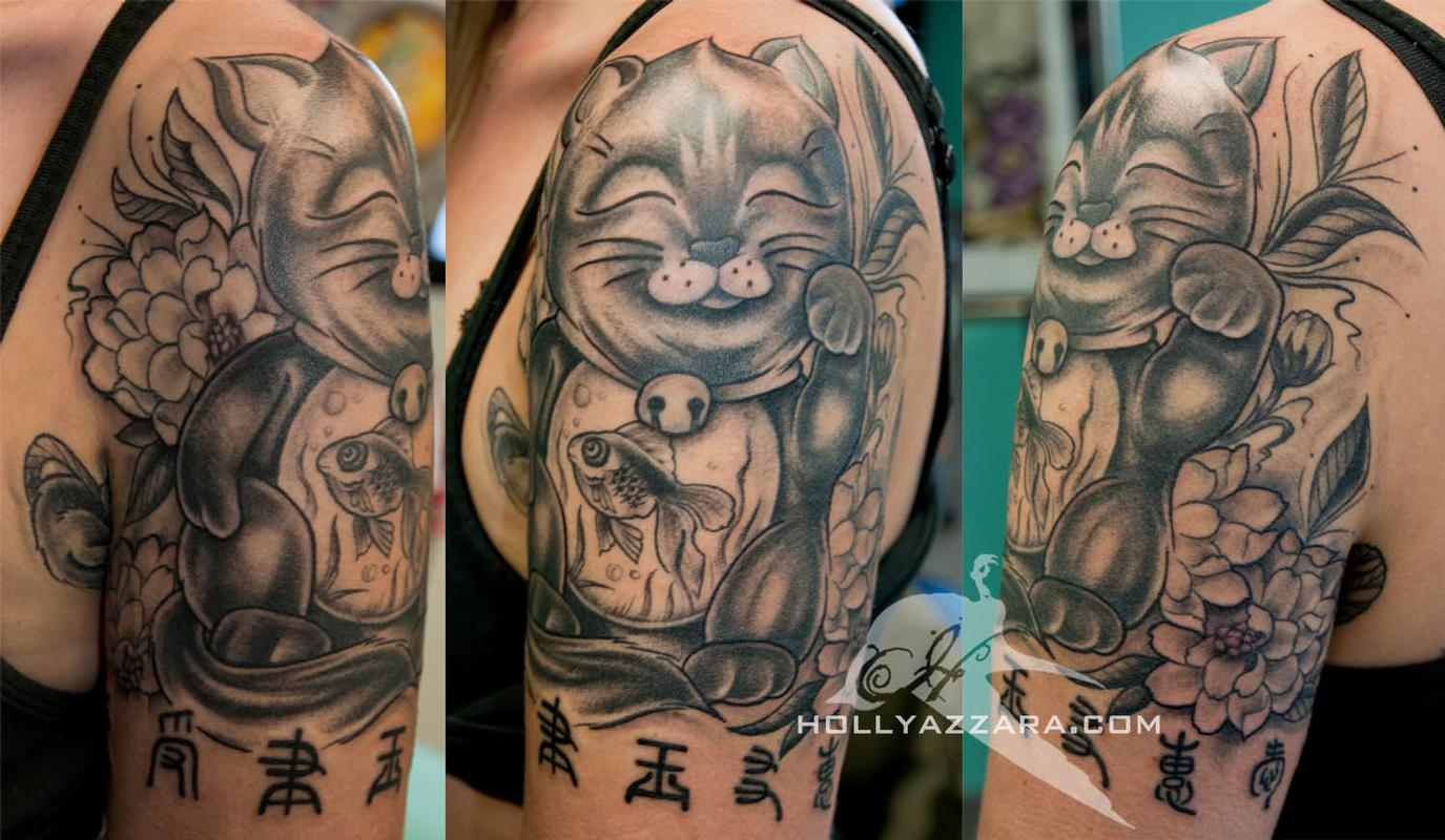 Lucky cat with gold fish black and gray complete by holly for Black gold tattoo