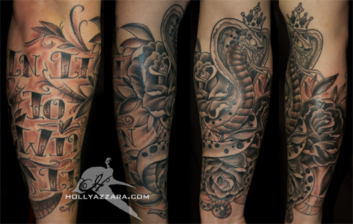 Black and gray traditional snake and roses by holly azzara for Traditional black and grey tattoo