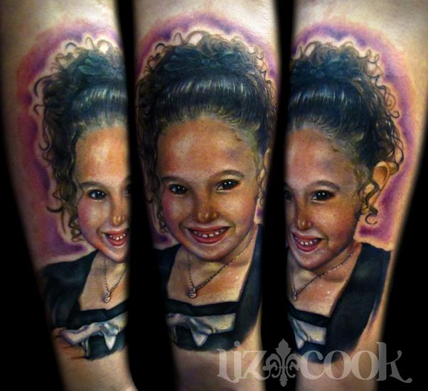 Mike 39 s daughter color portrait by liz cook tattoos for Tattoo shops amarillo tx