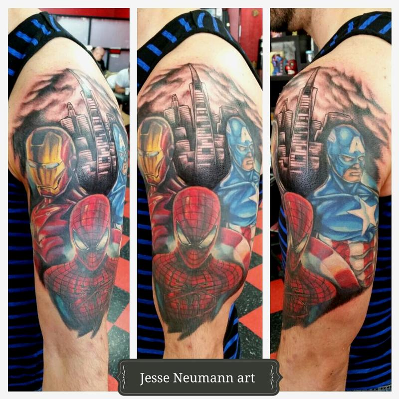 Marvel civil war tattoo by jesse neumann tattoonow for Marvel comics tattoos