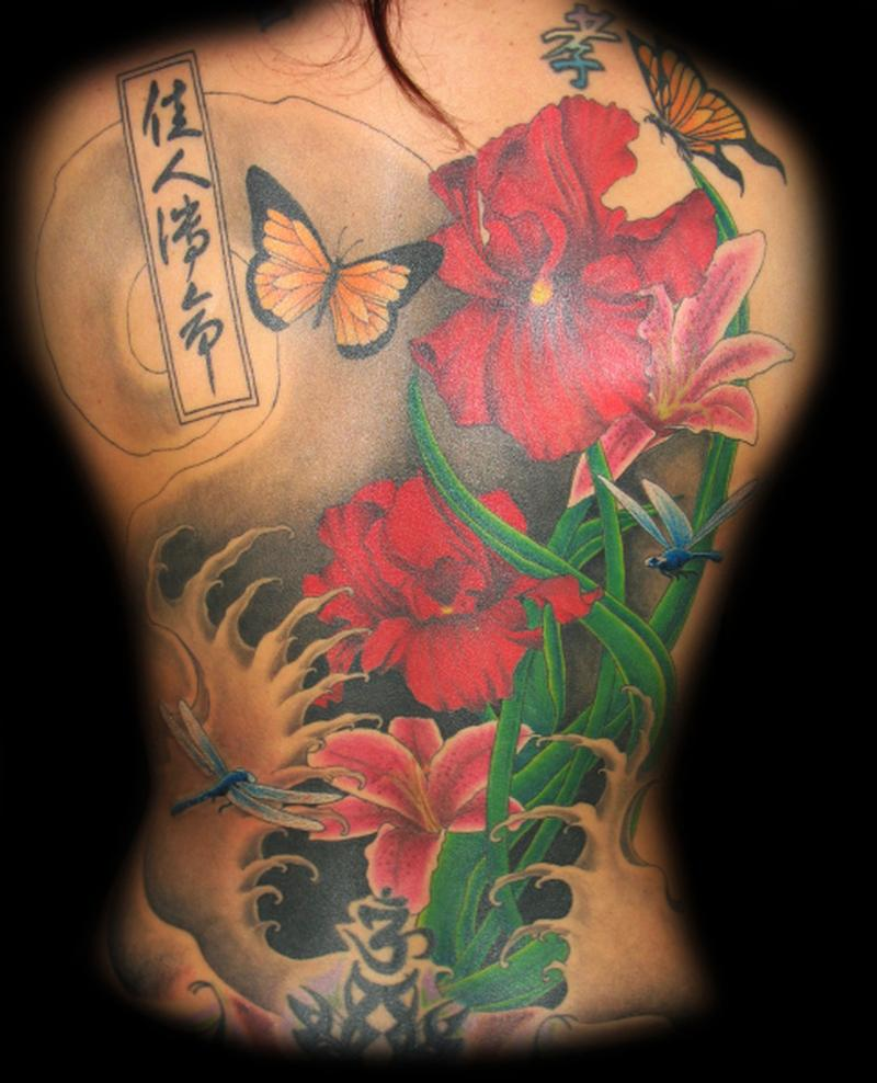 Lucky bamboo tattoo tattoos realistic floral back piece for Tattoo shops in utah