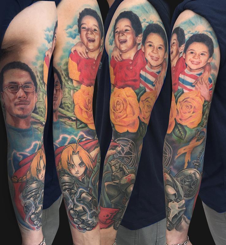 full metal alchemist brotherhood tattoo sleeve by jamie lee parker tattoonow. Black Bedroom Furniture Sets. Home Design Ideas