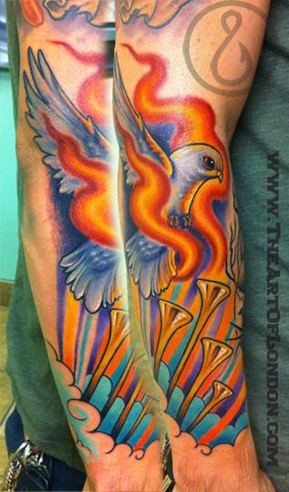 This firey dove is part of a fun religious sleeve I'm working on