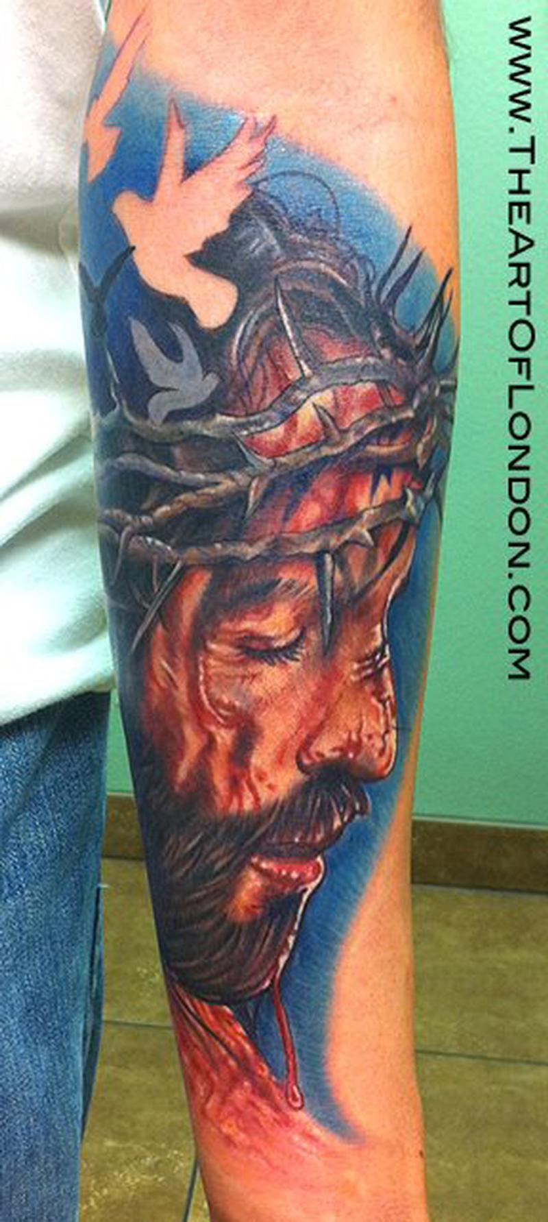 Jesus Portrait Tattoo by London Reese: TattooNOW :