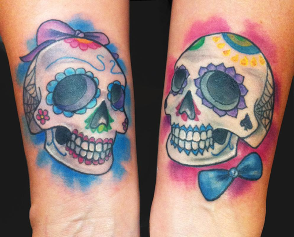Sugar love skulls tattoo by katelyn crane tattoonow for Skull love tattoos