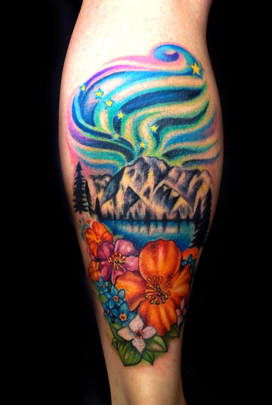 Off the map tattoo tattoos flower alaska for Tattoo shops in aurora