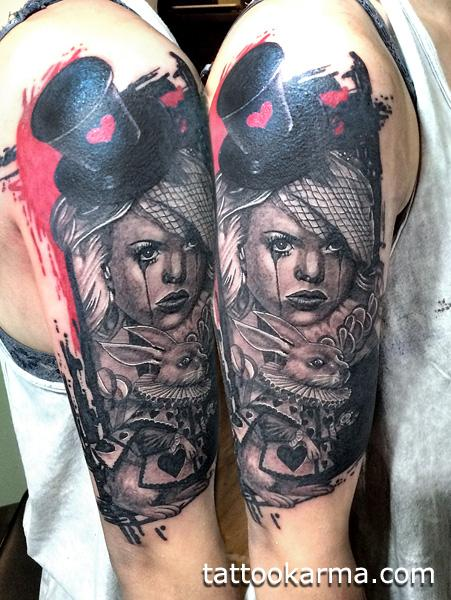 Alice in wonderland trash polka by micle andersson for Small alice in wonderland tattoos