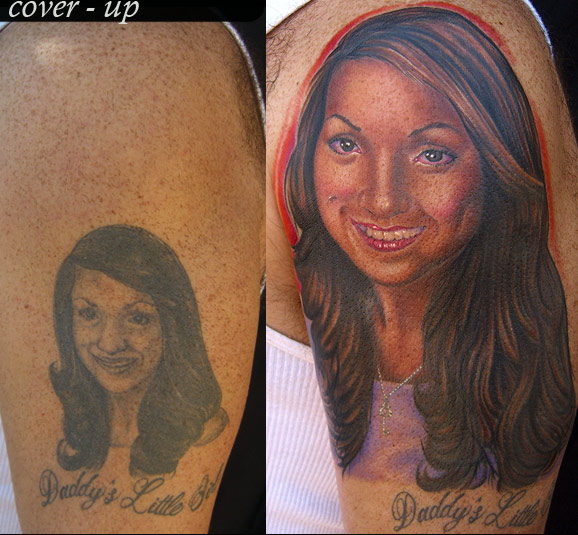 Mike DeVries - Portrait Cover-up Tattoo