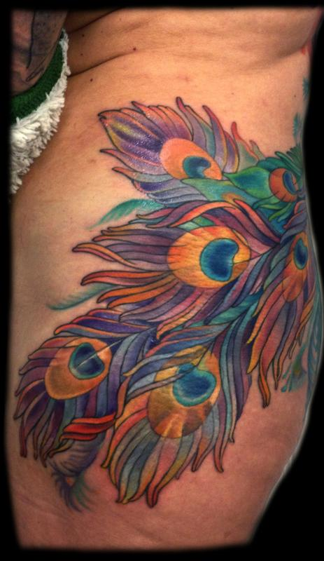 Peacock feathers by melissa fusco tattoonow for Peacock feathers tattoos