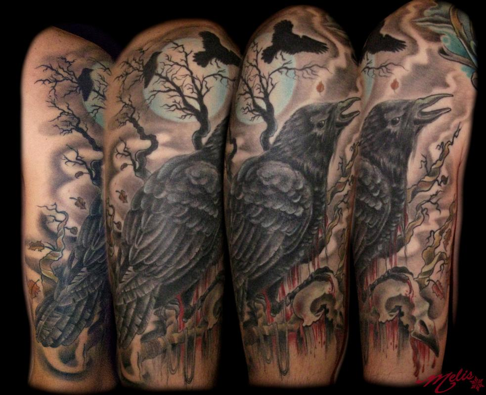 Raven bird skull by melissa fusco tattoonow for Best tattoo artists in colorado