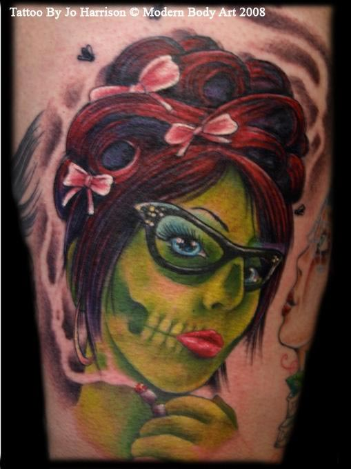 zombie pinup by jo harrison tattoonow. Black Bedroom Furniture Sets. Home Design Ideas