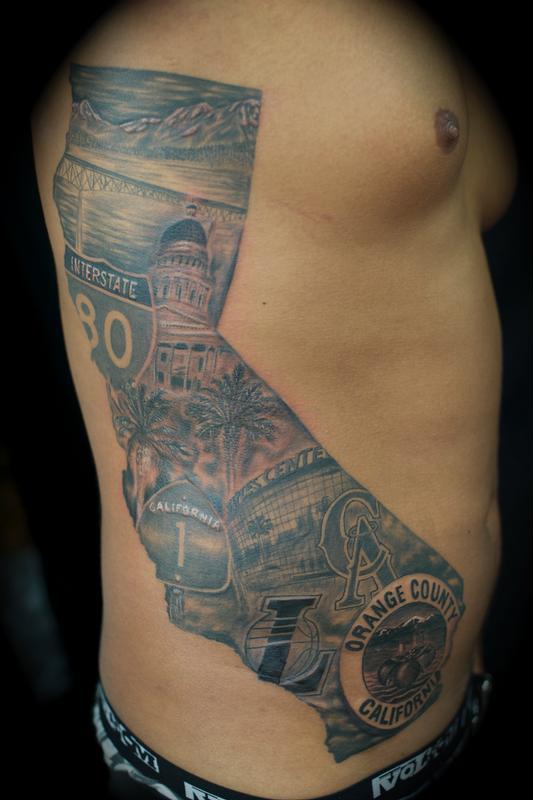 Cali mural california by ryan el dugi lewis tattoonow for Back mural tattoos