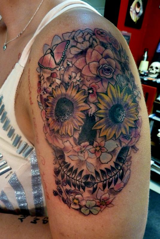 day of the dead skull with flowers by mully tattoos. Black Bedroom Furniture Sets. Home Design Ideas
