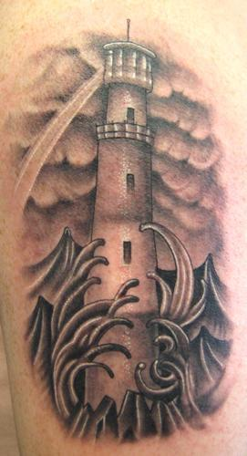 black and gray lighthouse tattoo by jace masula tattoonow. Black Bedroom Furniture Sets. Home Design Ideas