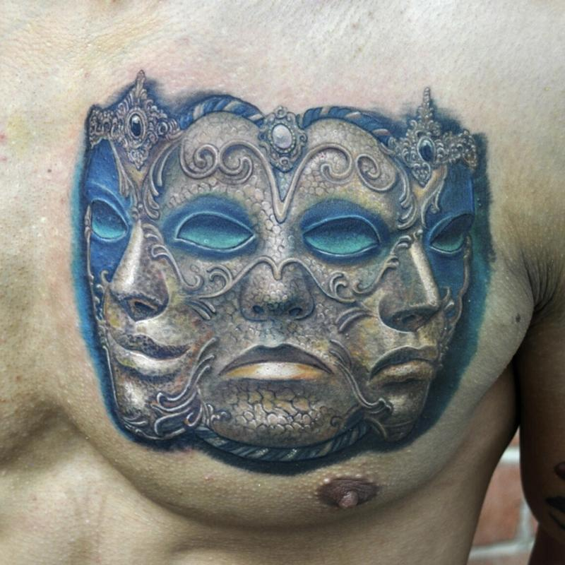Three Headed Venetian Mask Color Portrait By Nate Beavers