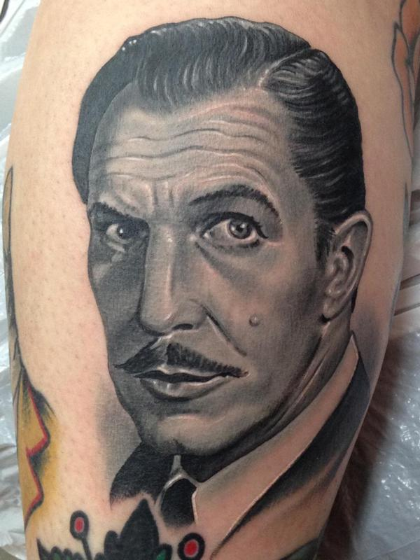 Black and gray vincent price portrait tattoo by nate for Price of a tattoo