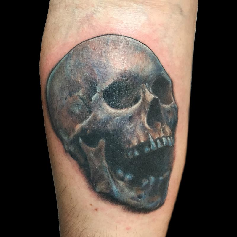 Color realism skull tattoo by nic lebrun tattoonow for Color skull tattoos
