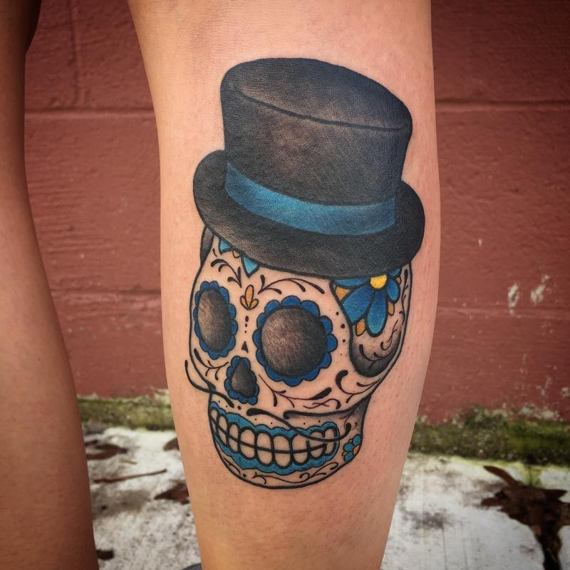 Day of the dead male sugar skull tattoo by nic lebrun for Old school day of the dead tattoo