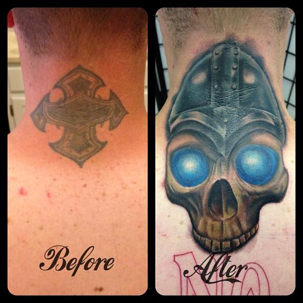 Viking skull cover up by ricky indiana tattoonow for Tattoo shops in champaign il
