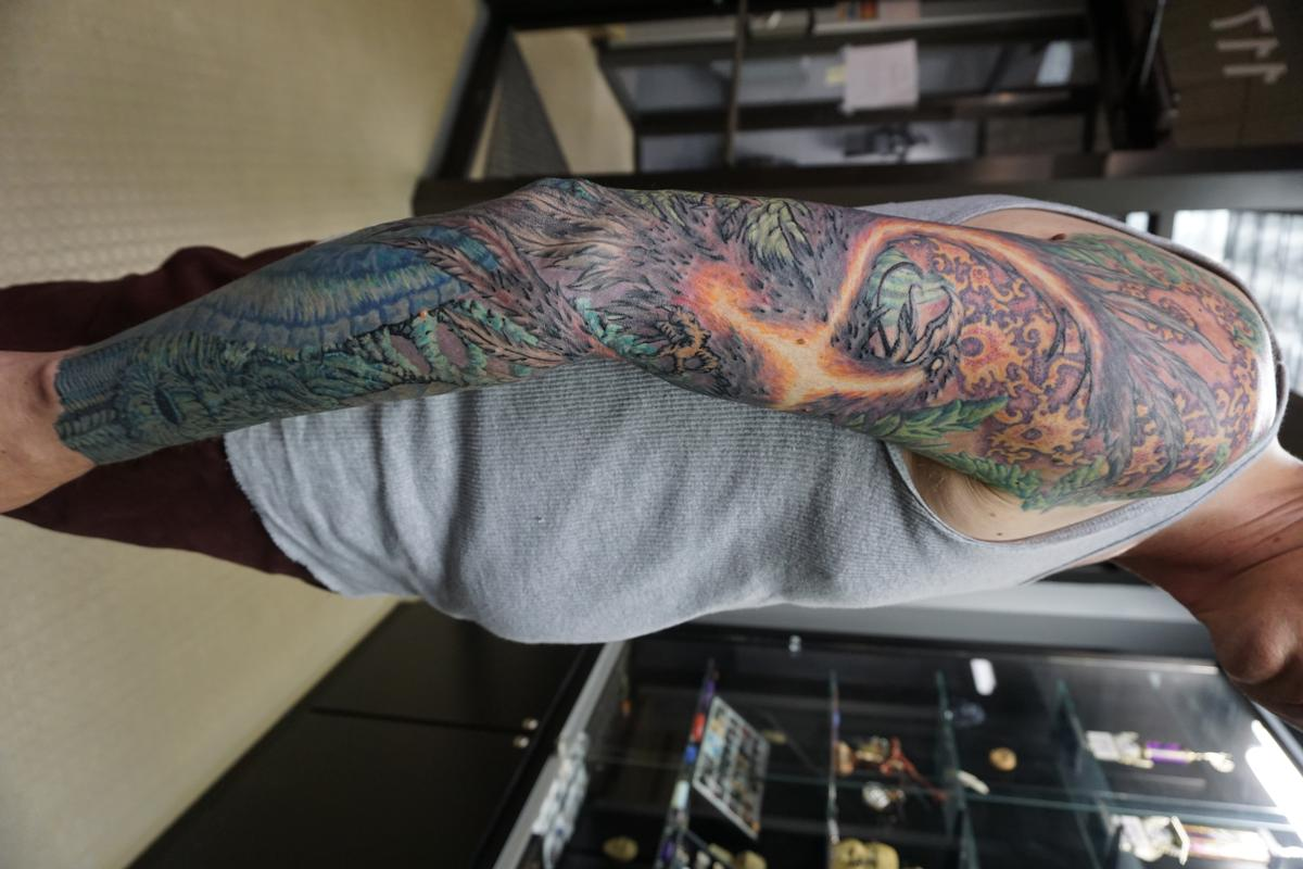 Freehand custom organica phoenix sleeve by justin mccarty for Tattoo shops in champaign il