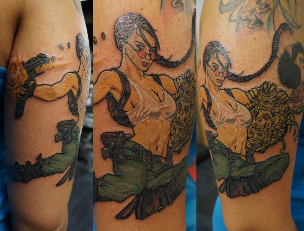 Lara croft by justin mccarty tattoonow for Tattoo shops in champaign il