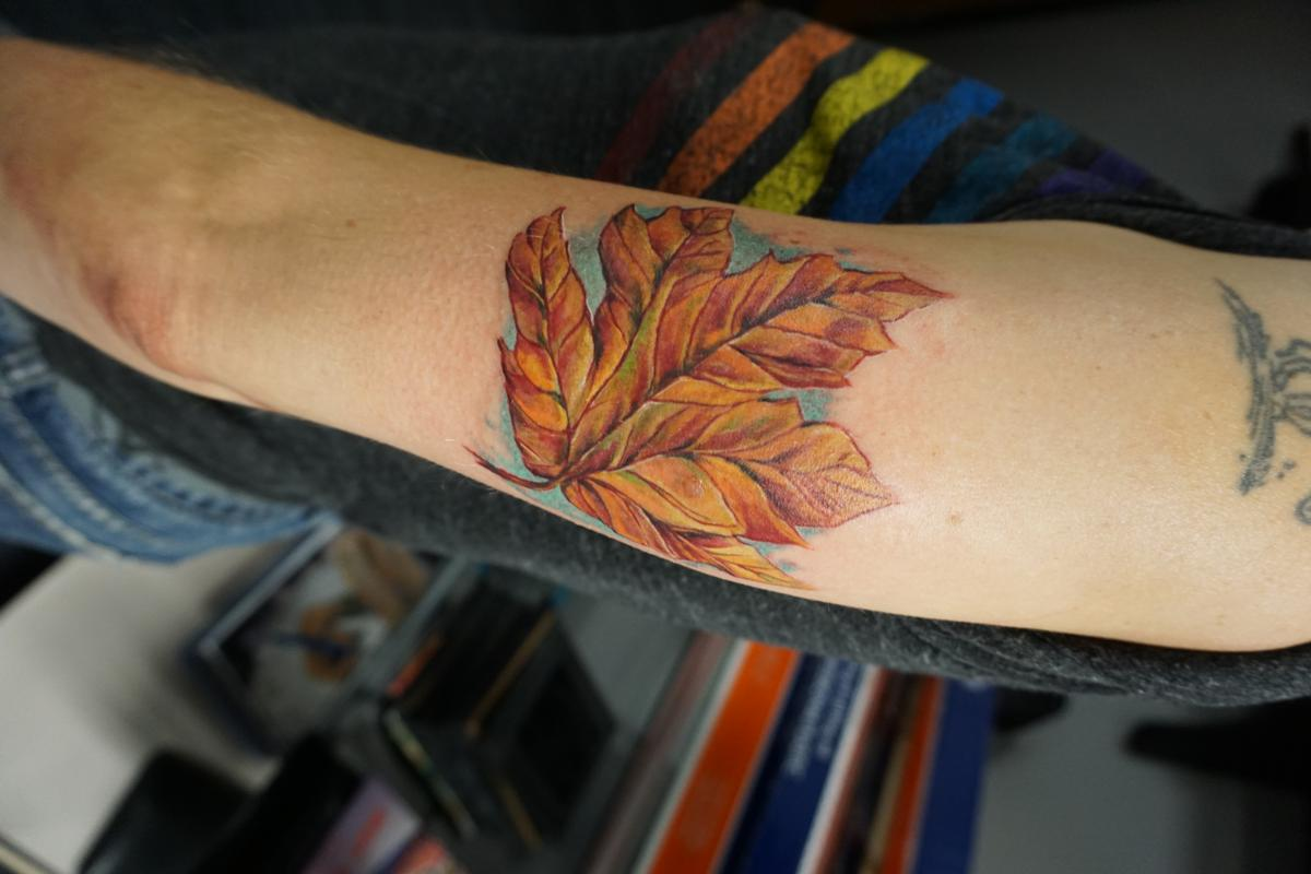 Freehand maple leaf by justin mccarty tattoonow for Tattoo shops in champaign il