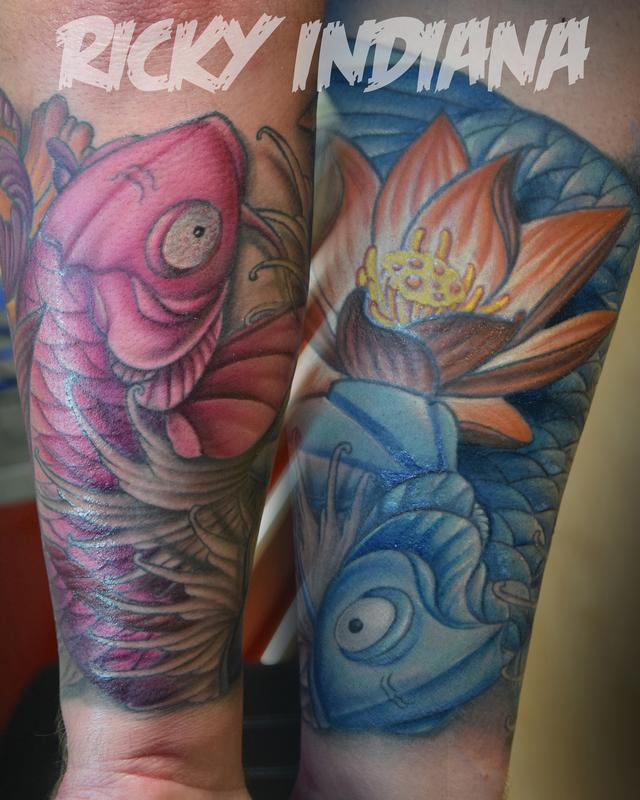 Swirling koi fish and flowers by ricky indiana tattoonow for Tattoo shops in champaign il