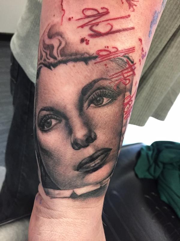 Julie london portrait by ricky indiana tattoonow for Tattoo shops in champaign il