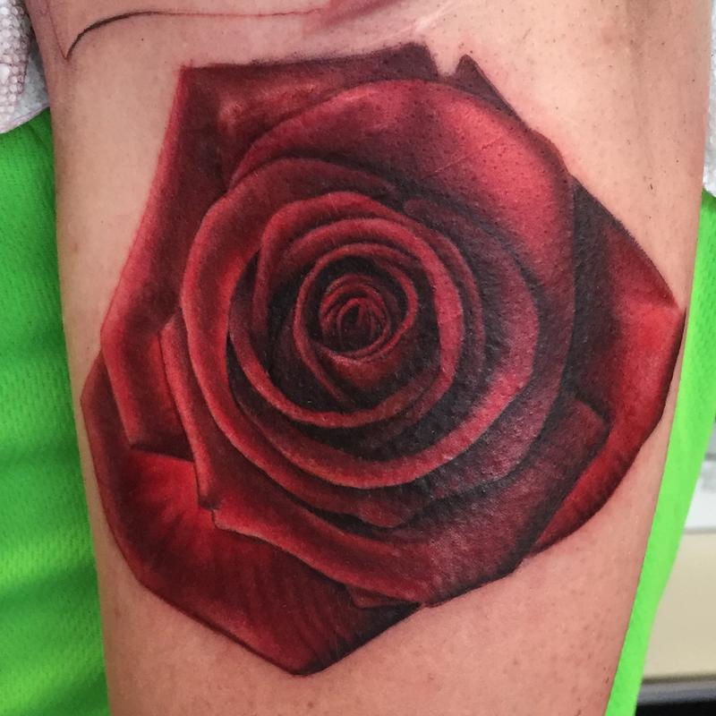 Rose with detail by ricky indiana tattoonow for Tattoo shops in champaign il