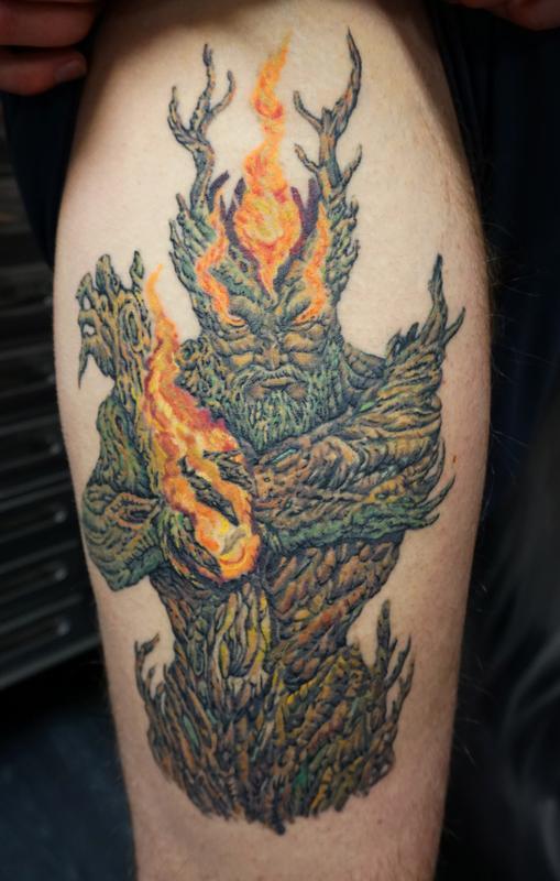 no regrets tattoo body piercing tattoos body part leg custom treeman on thigh. Black Bedroom Furniture Sets. Home Design Ideas