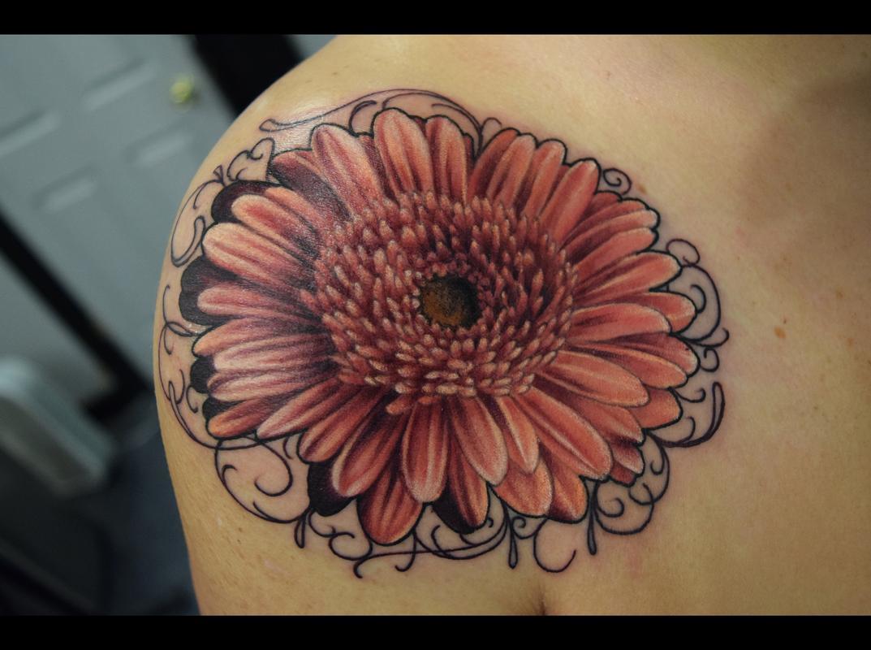 No Regrets Tattoo & Body Piercing : Tattoos : Small : Gerbera Daisy