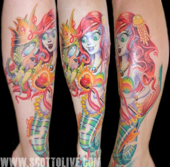 Sleeve Ink Tattoo Arm Color Tattoo Mermaid Saint: Miss Mermaid By Scott Olive : Tattoos
