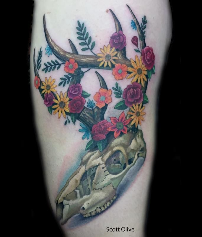 Floral Deer Skull Tattoo Design