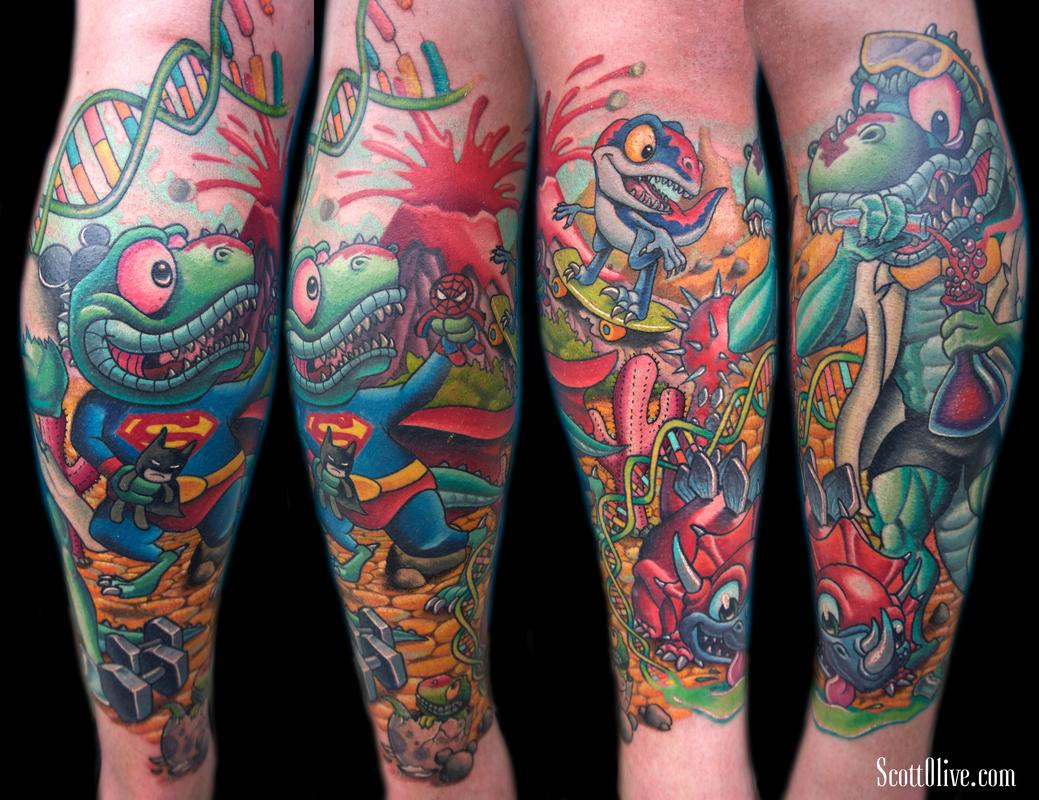 Dino Family Tattoo Design