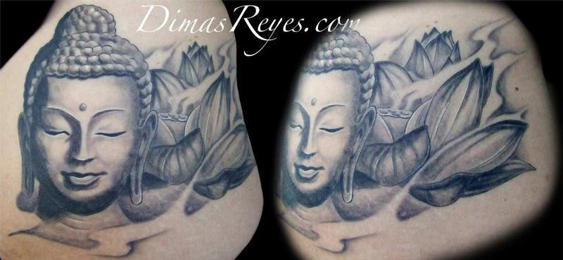 Black and grey buddha with lotus flower tattoo by dimas reyes dimas reyes black and grey buddha with lotus flower tattoo mightylinksfo