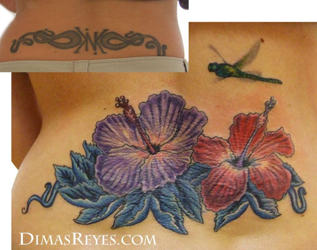 Color Hibiscus Flowers With Dragonfly Tattoo By Dimas Reyes Tattoonow