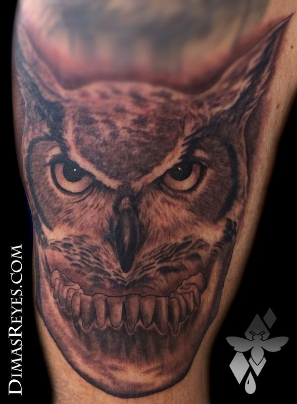 Great Horned Owl Black And Grey Tattoo Black and Grey Horned ...